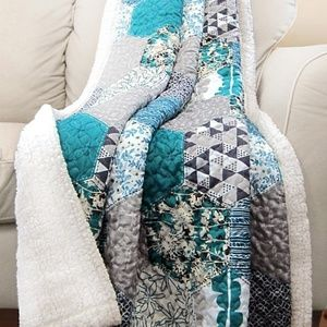 Turquoise Briley Sherpa-Lined Quilted Throw